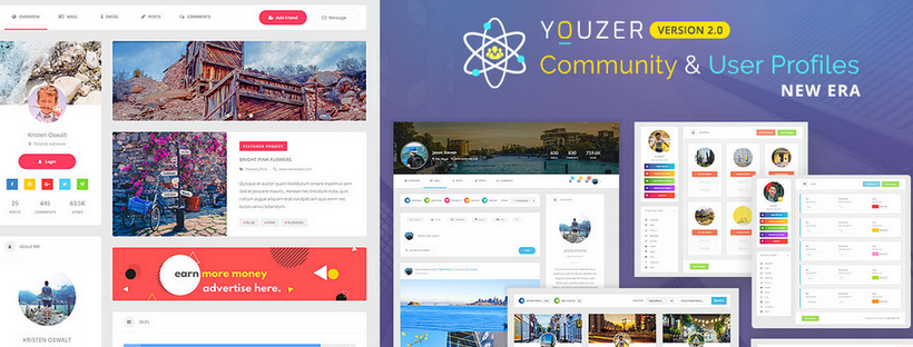 [Youzer v2.3.4 ] Buddypress Posts Privacy, Posts Mood, Tag Friends & More.